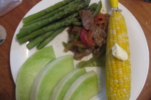 Recipe – Spicy Stir-fry Beef with Asparagus & Corn on the Cob